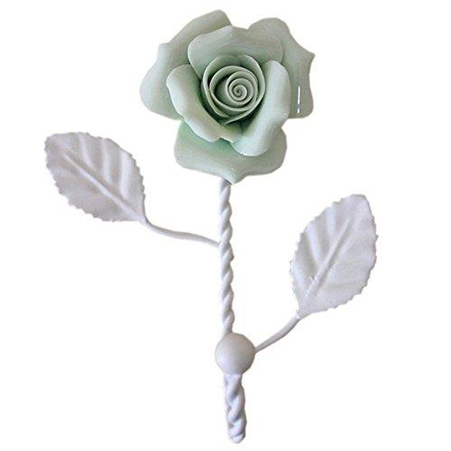 EleCharm Ayygift Ceramic Rose Hook Coat Hat Hanger Curtain Valance Holdback Wall Hook (Light Green) from EleCharm