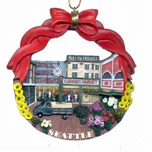 Seattle Christmas Ornament Pikes Public Market Poly Resin 3
