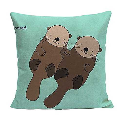JINLE Penguin Fox Animal Pillowcase Pillow Cover Suitable for Home Living Room Bedroom Decoration Car Interior Design Office Layout,18x18inches,45cm45cm Pack of 1