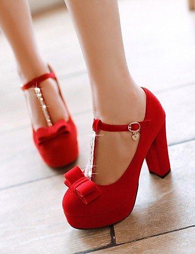 GGX/ Zapatos de mujer-Tacón Robusto-Tacones-Tacones-Boda / Oficina y Trabajo / Vestido-Semicuero-Negro / Azul / Rojo , red-us10.5 / eu42 / uk8.5 / cn43 , red-us10.5 / eu42 / uk8.5 / cn43 black-us7.5 / eu38 / uk5.5 / cn38