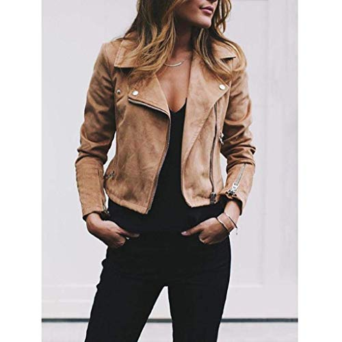 Outwear ShallGood Fashion Autumn Leather Casual Jacket Up Zipper Bomber Parka Vintage Stylish Rivet Short Sleeve Coat Coat Retro Winter Jacket Overcoat Khaki Long Womens SSrXq6