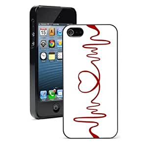 For iPhone 5 5S Hard Case Cover Red Heart EKG Nurse Doctor -01