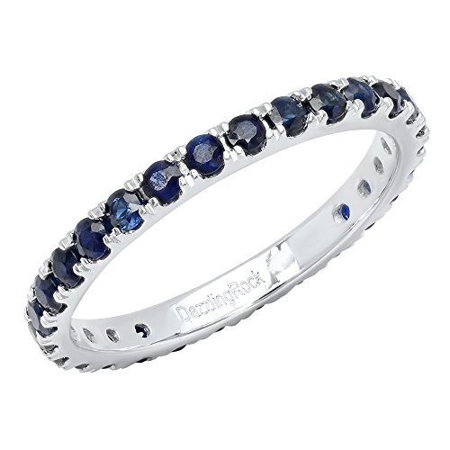 Dazzlingrock Collection 10K Round Blue Sapphire Ladies Eternity Wedding Anniversary Stackable Ring Band, White Gold, Size 7 (Wedding White Gold Band Sapphire)