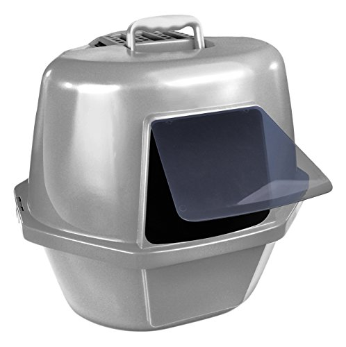 Van Ness Corner Enclosed Cat Pan, Silver, Large (Large Enclosed Cat Litter Box)