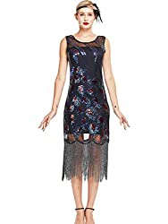 Black With Gray Fringe Peacock Sequin Flapper Dress
