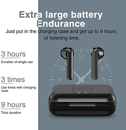 True Wireless Earbuds, Bluetooth 5.0 Headphones with Charging case Noise Cancelling LED Battery Display in-Ear Built-in Mic Earphones
