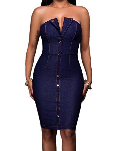 Womens Strapless Backless Bodycon Clubwear
