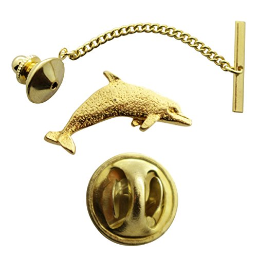 Dolphin Tie Tack ~ 24K Gold ~ Tie Tack or Pin ~ Sarah's Treats & Treasures