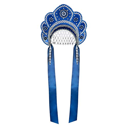 danila-souvenirs Russian Traditional Folk Costume Headdress Kokoshnik Elena Blue #425