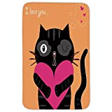 Rectangular Area Rug Mat Rug,Funny,Kitty Holding A Heart I Love You Romance Valentines Greeting Birthday Concept Decorative,Black Apricot Pink,Home Decor Mat with Non Slip Backing