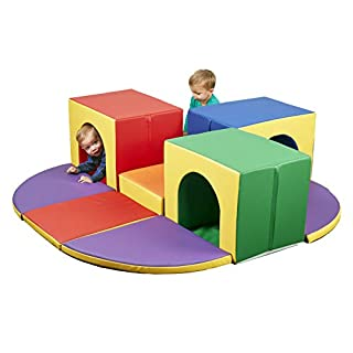 ECR4Kids SoftZone Triple Tunnel Maze - Beginner Toddler Climber for Safe Active Play - Fun Early Development Obstacle Toy