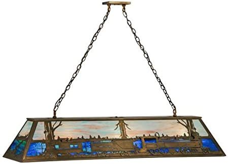 Meyda Tiffany 31657 Train Collection 9-Light Oblong Pendant, Antique Copper Finish with Silver Mica Panels
