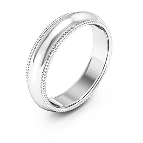 14K White Gold men's and women's plain wedding bands 5mm Milgrain comfort-fit, 13.25