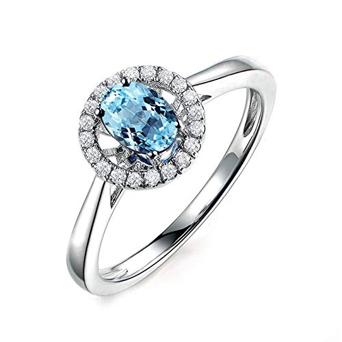 Brilliant Cut Tahitian Ring - Epinki 925 Sterling Silver Ring Anniversary Ring Wedding Ring Brilliant Ring for Women Silver with Blue Topaz Black Sterling Silver Ring Size 4.5