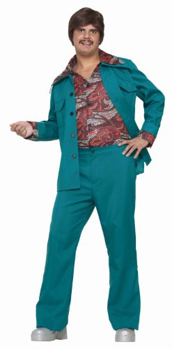 70's Leisure Suit Costume (Forum Novelties Men's 70's Disco Fever Costume Leisure Suit, Blue/Green, Standard)