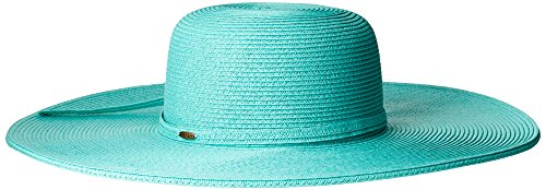 Scala Women's Big Brim Paper Braid Hat, Aqua, One Size