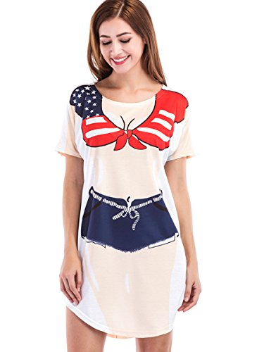 Jubileens Women's Short Sleeve Cute Bikini Print Baggy T Shirt Dress Fun Wear (XL, America Flag)