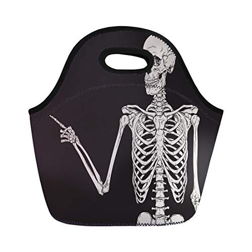 Semtomn Lunch Tote Bag Anatomy Human Skeleton Finger Pointing Over Body Bones Cartoon Reusable Neoprene Insulated Thermal Outdoor Picnic Lunchbox for Men -