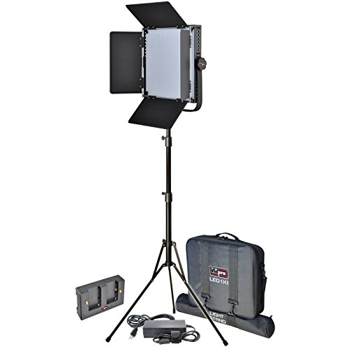 Vidpro LED-1X1 Studio Video Lighting Kit with LED Light, Stand, Cases & Soft Diffuser includes AC Adapter & Power Supply by VidPro