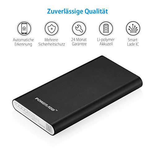 Poweradd 2nd Gen Pilot 2GS 10000mAh Power Bank, Dual USB Port Portable Charger 3.4A High-Speed Charge for iPhone, Samsung Galaxy, Other Smartphone and Tablet - Black (Apple Cable Not Included) by POWERADD (Image #4)
