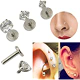 16G Gem Round Tragus Lip Ring Monroe Ear Stud Earring Body Cartilage Piercing (2mm)