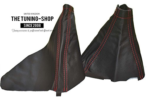 (For Subaru Impreza WRX 2007-12 Shift & E brake Boot Black Genuine Leather Red Stitching)