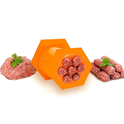 Woaills Home Sausage Press Making Tool, 7 Sausages Making Mold,Press Maker Manual Sausage Maker Meat Stuffer Filler Hand Operated for Easily Making Delicious Stuffed Sausages-Easy to Use (A)