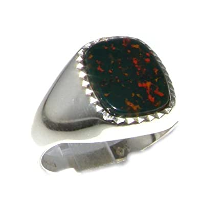 Sterling Silver Mens Cushion Cut Bloodstone Signet Ring - Sizes 8 to 12 Available