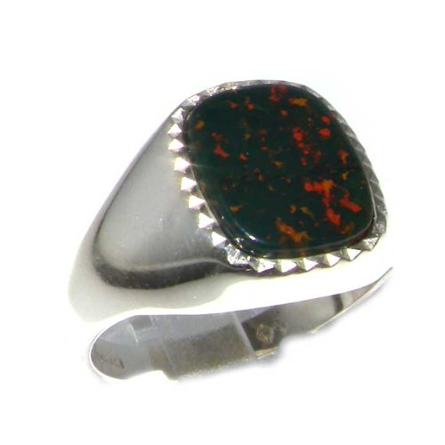 Sterling Silver Mens Cushion Cut Bloodstone Signet Ring - Size 11.75 - Sizes 8 to 12 Available