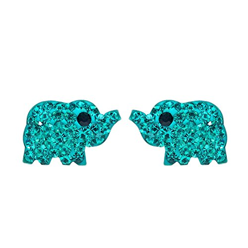 Cubic Elephant Zirconia - Elephant Inspired Blue-Green Cubic Zirconia .925 Sterling Silver Stud Earrings
