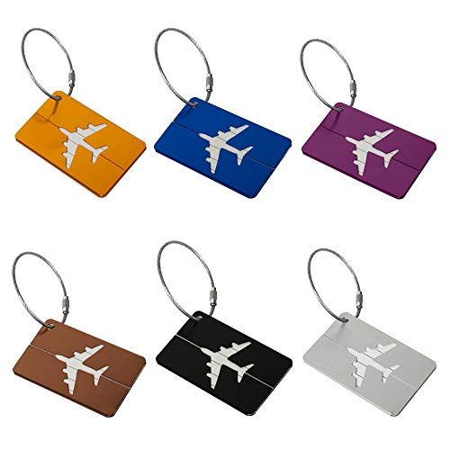 - Label Aluminum alloy luggage tag Travel Luggage Tags Bag Tag Suitcase Luggage Bag Tag Pack of 6