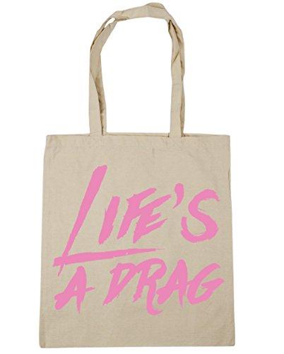 42cm a Beach Gym Life's 10 drag Shopping Tote litres x38cm Bag Natural HippoWarehouse qZY81Hn5n