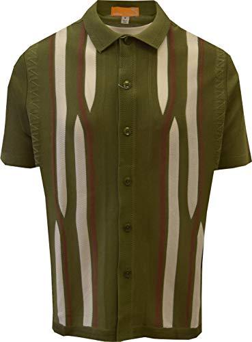 SAFIRE SILK INC. Edition S Men's Short Sleeve Knit Shirt - California Rockabilly Style: Swirly Jacquard (Medium, Green)