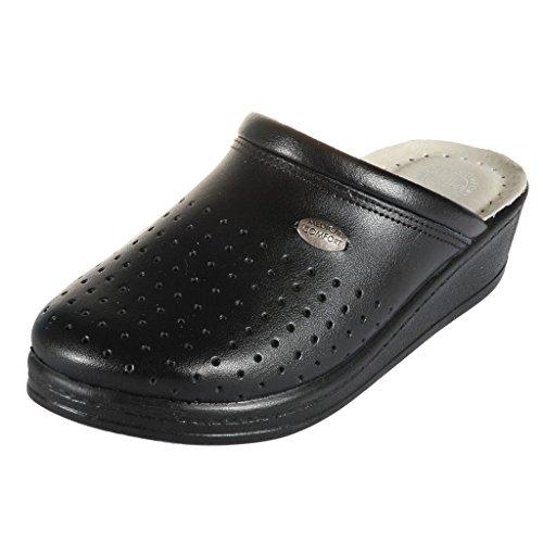 100SB Scarpe Comfort Zoccoli Sabot Medical Dr Pelle Rosso Donna Pantofole Punto Nero qw6p6FIB8