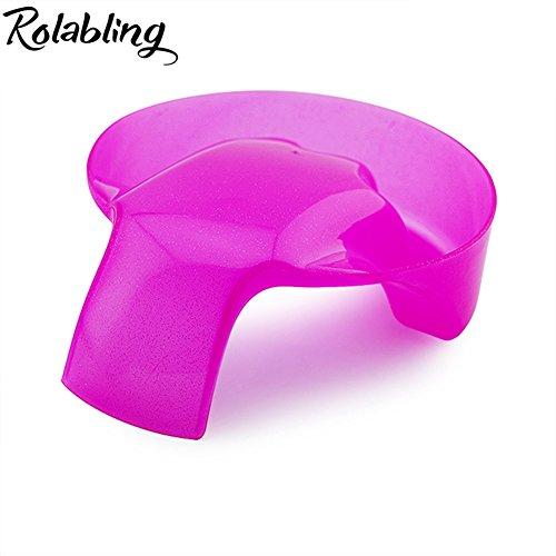 Rolabling 1Pcs Nail Art Soak Bowl Nail Polish Powder Removal Tray Nail Spa Salon Soaker Bowl Manicure Tools (Red)