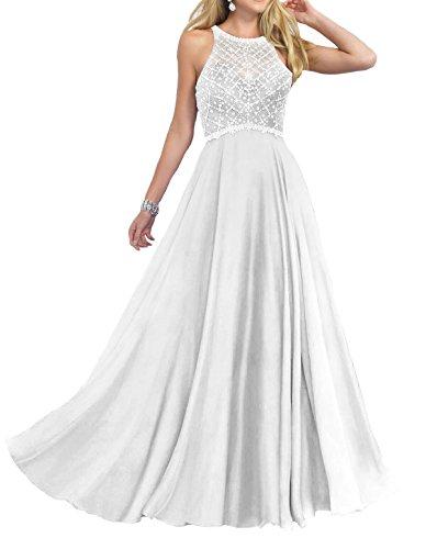 - Firose Women's Scoop Neckline Beaded Long Chiffon Prom Dresses For 2018 White US10