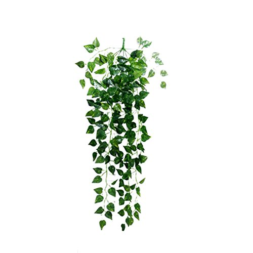 LiPing Artificial Fake Hanging Vine Plant Leaves Garland Home Garden Wall Decoration Wedding Flowers Accessories (6PCS, (Island Flower Mirror)