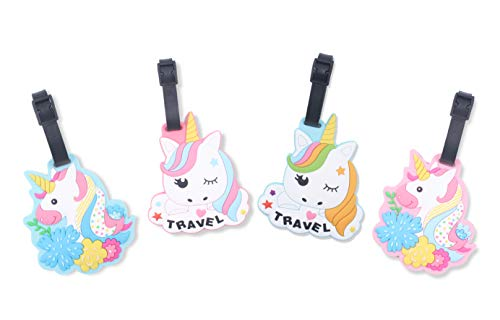 Finex Set of 4 - Unicorns Travel Luggage ID Tag for Bags Suitcases with Adjustable ()