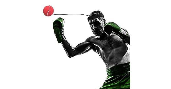 SEN Eubi E302 Elasticidad Banda para la Cabeza con Pelota de Boxeo Entrenamiento Punzonado r/ápido Rojo