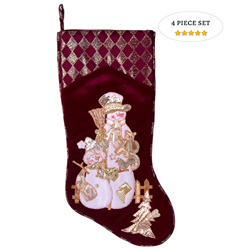- Embroidered Farmhouse Christmas Stockings Set of 4 in Velvet Burgundy | Family and Kids Holiday Stockings with Santa and Snowman Appliqué Designs | Christmas Decorations Indoors | 18