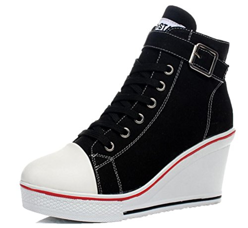 ACE SHOCK Women Wedge Sneakers Wide Width Fashion High Heeled Platform Canvas Shoes (US 7, Buckle Closed-Toe Black) ()