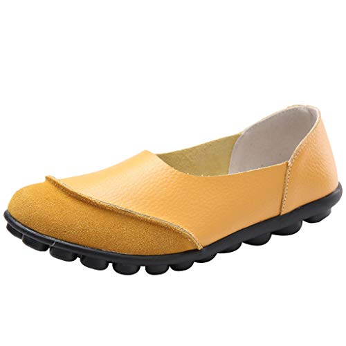 Toimothcn Women' Casual Slip On Flat Shoes Soft Bottomed Driving Single Shoes Loafers(Yellow,US:6)
