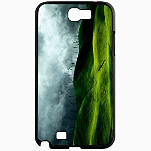Unique Design Fashion Protective Back Cover For Samsung Galaxy Note 2 Case Green Hills Background Nature Black