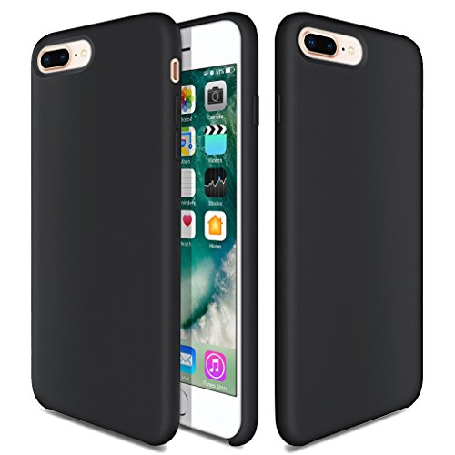 iPhone 7 Plus Case, iPhone 8 Plus Silicone Case, TOTU Liquid Silicone Gel Rubber Full Body Protection Shockproof Cover Case with Superfine Fibre for iPhone 7 Plus (2016) / iPhone 8 Plus (2017) - Black Black Silicone Phone Case Cover