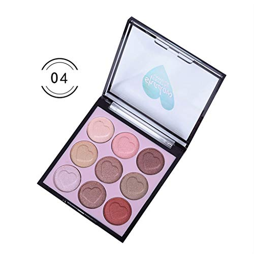 Matte and Shimmer Eyeshadow Palette,Eyeshadow Cosmetics Set With Brush 9 Colors Eye Makeup -