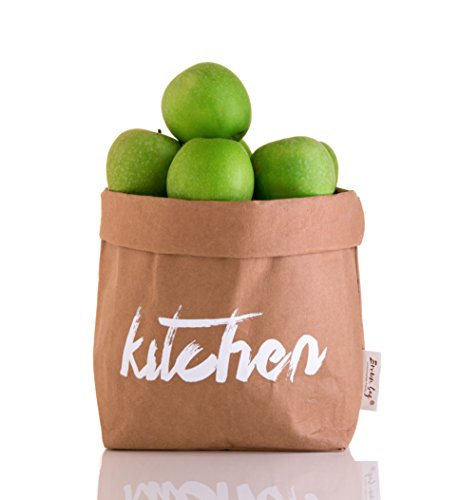 Decorative and Durable Paper Bag Reusable Eco friendly Basket Bin Organizer Personalize Your House Food & Lunch Storage Container flowerpot cover Toy Box with Unique Brown Kitchen Design Perfect Gift
