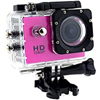 ChiTronic Original S8 Sports Action DV Helmet Camera with Sunplus SPCA6330 Processor + OV2710 CMOS + 30Meter Waterprood(With Case) + US UK EUR 3 Plugs Travel Kit,Rose Color