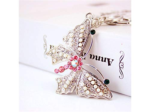 Yunqir Lightweight Creative Auspicious Pearl Butterfly Pendant Key Chain Bag Purse Decoration Keyring(Silver) by Yunqir