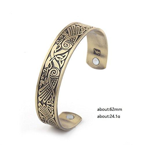 My Shape Health Care Magnetic Bracelet Viking Raven Cuff Bangle Irish Knotwork Birds Talisman Pagan Jewelry