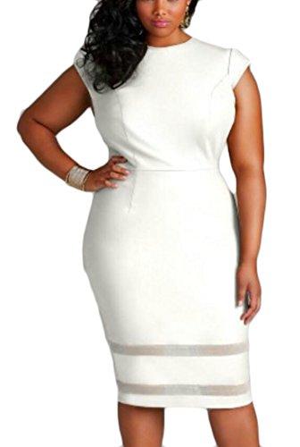 Cap Patchwork Plus Midi Women Size Cocktail Domple Dress White Mesh Sexy Sleeve qwYOanWXxH